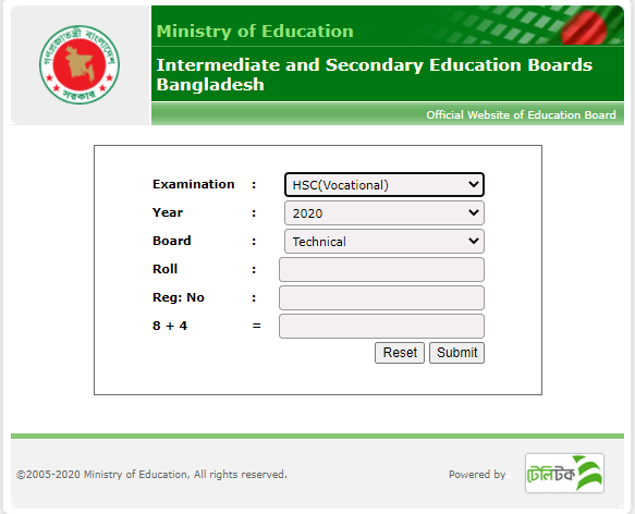 BTEB HSC Vocational Result